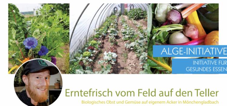 Alge-Farm in Mönchengladbach. Erntefrisch vom Feld auf den Teller.